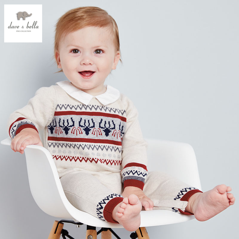 DB2884 dave bella 2015 autumn baby wool romper boys romper infant clothes baby one-piece knit baby romper high quality