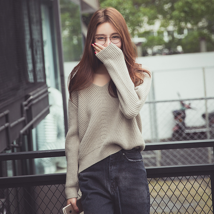 ZH02503B Fashion V neck cable cashmere sweater pullover for women