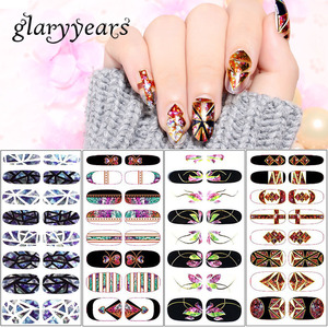 YO Korean Style Latest Nail Art Wraps Stickers Full Cover Removable Nail Sticker Customs
