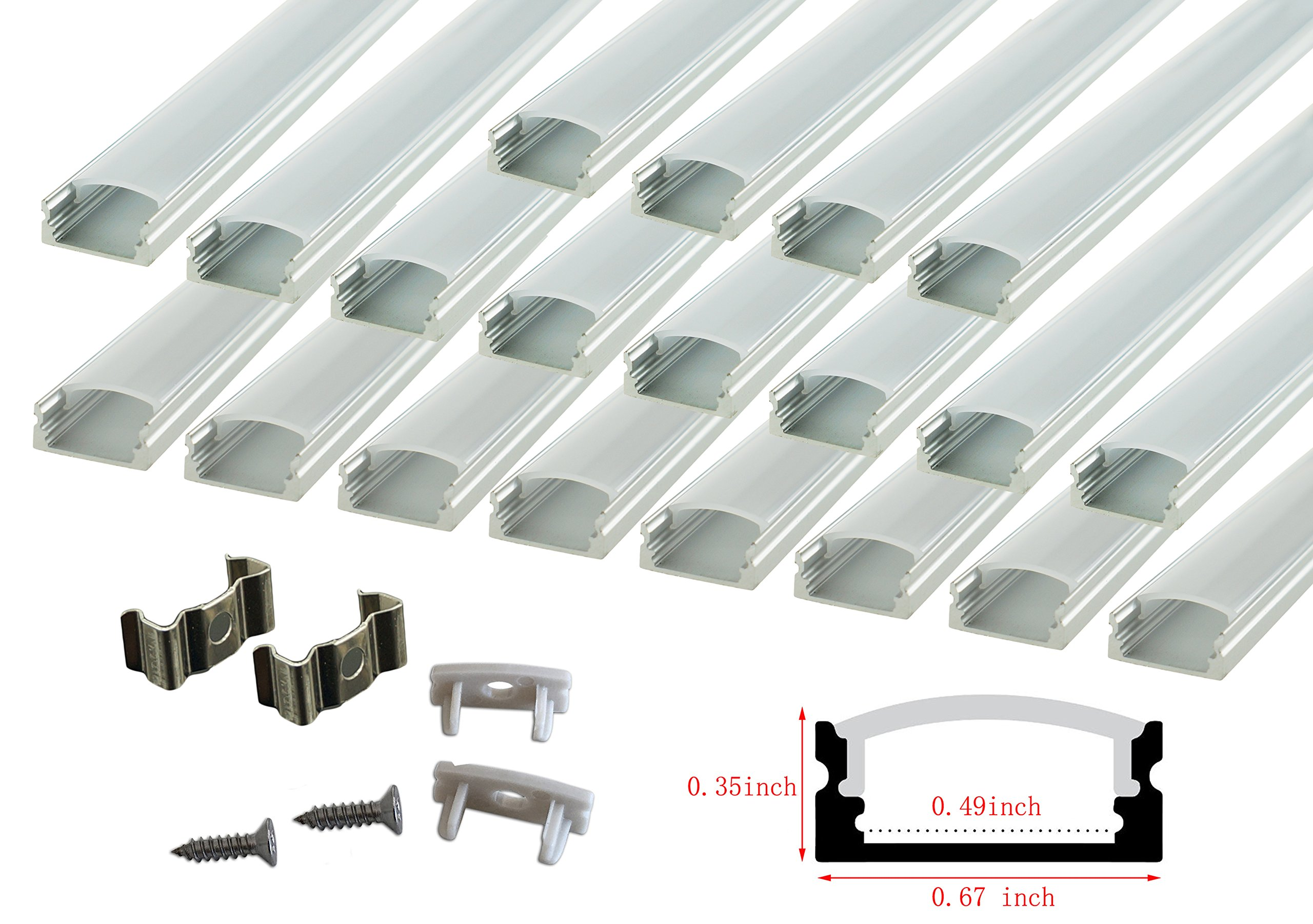 Section Size:0.95 x 1.42 LightingWill 10 Pack 3.3Ft//1M U Shape Flush Mount Anodized Black Channel System for 20mm LED Strip Lights with Caps+Clips U05 LED Aluminum Channel with Clear Cover