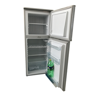Upright freezer double door silver gray fridge home refrigerator