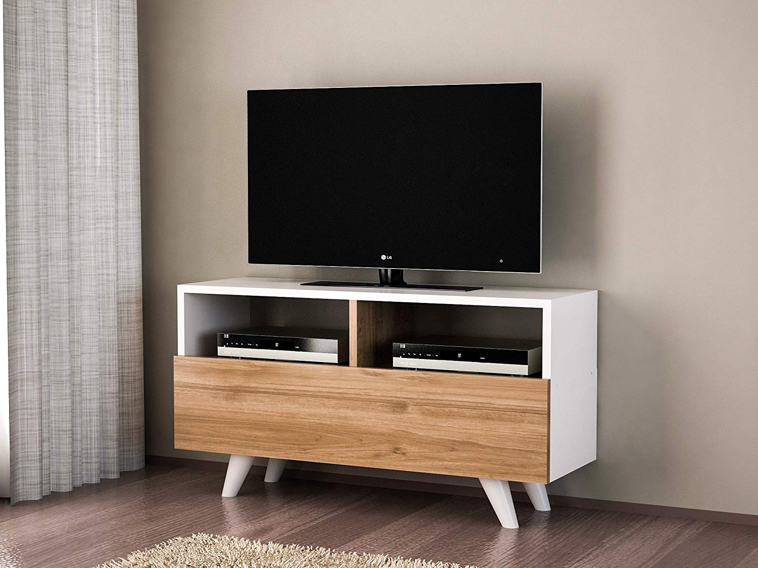 Get Quotations Lamodahome Tv Stand Unit White Wooden Coloured Stylish Design Simple Parted Storage Multi