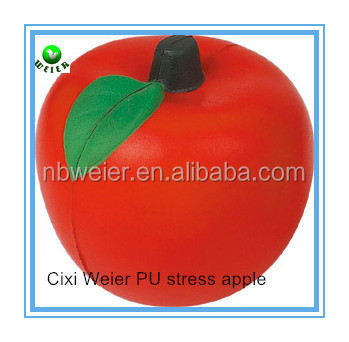 6.8cm promotional gift PU stress apple/personalized PU material apple/PU apple for kids toys