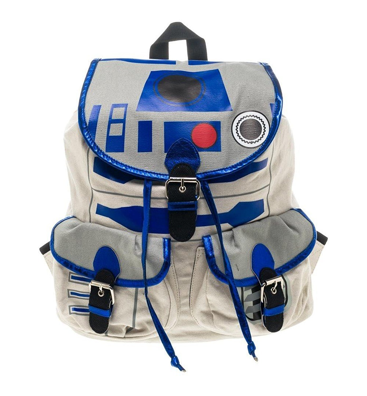 Star Wars R2 D2 Licensed Printed Knapsack Backpack School Book Bag Grey Blue