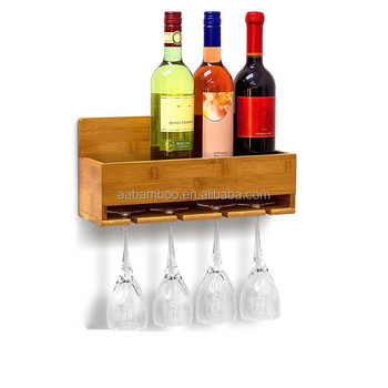 Bamboo Wall Mounted Hanging Bottle Stand Wine Shelf With Gl Holder For 4 Bottles