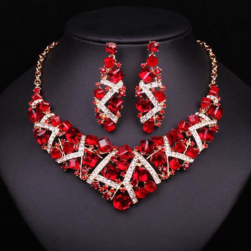 258bad555b07 De moda geométrica collar de cristal pendientes novia joyería de fiesta de  boda Vestido de traje accesorios regalos para las mujeres en Sistemas de la  ...