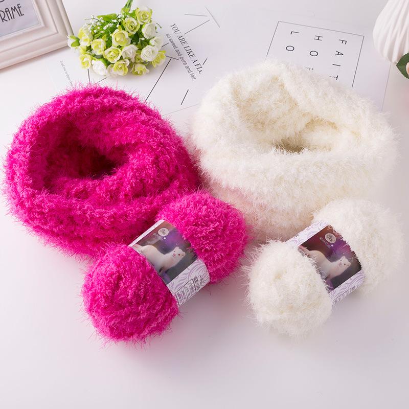 COOMAMUU Soft Faux Fur Mohair Wool Cashmere Yarn Plush Mink Yarn for DIY Hand Knitting Crochet Sweater Thread Baby Blend Yarn
