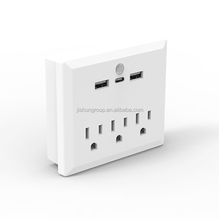 3 Outlet Wall Mount Adapter with type c charging port and dual usb ports Plug-in Night Light Multi Plug Outlet Extender