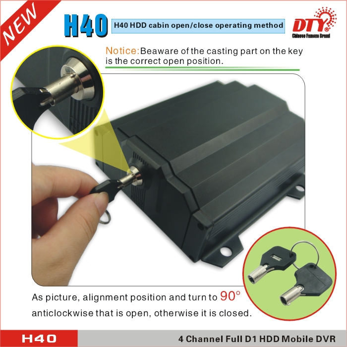 D1 H.264 mini SD CARD 3G mdvr 4-channel Mobile Car DVR,H40 series
