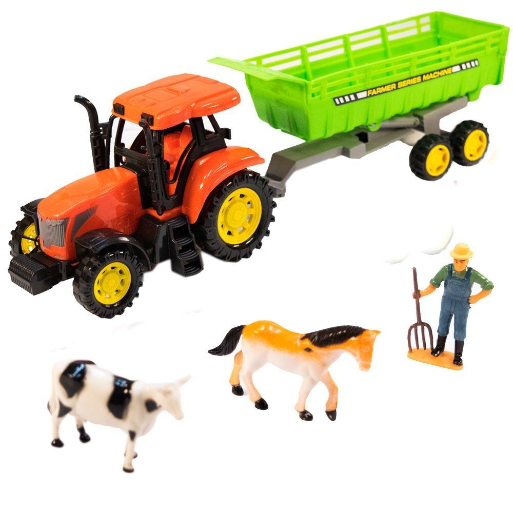 TukTek Kids First Toy Farm Tractor & Dump Trailer w/ Animal Figures Friction Push Truck for Boys & Girls