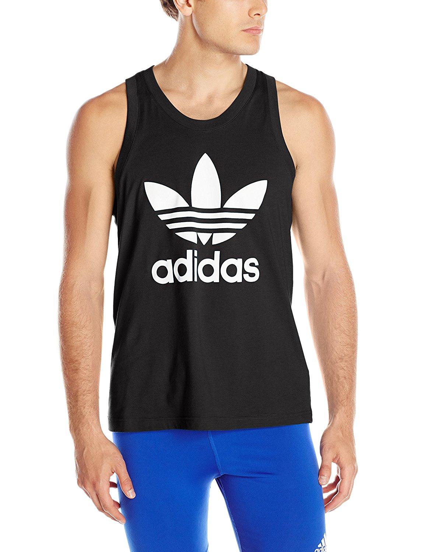 adidas Originals Men's Trefoil Tank Shirt, Black, Large