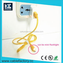 Kuncan Brand with working indicator braid usb cable AWM 2464 20AWG AM to micro USB 5V 2.1A yellow cable