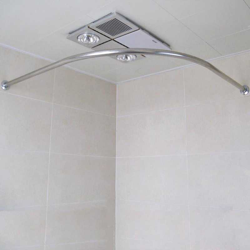 Curved Stainless Steel Retractable Shower Curtain Rod