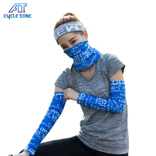 Cycling Wear Sun UV Protection Magic Face Mask And Cooling Arm Sleeves ,Breathable Anti-UV Printed Compression Sports Arm Sleeve