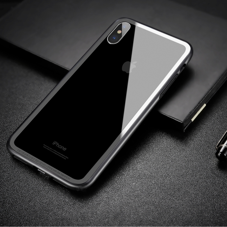 Baseus for iPhone X PC Hard Glue + TPU Soft Glue Dropproof Bumper Frame phone case