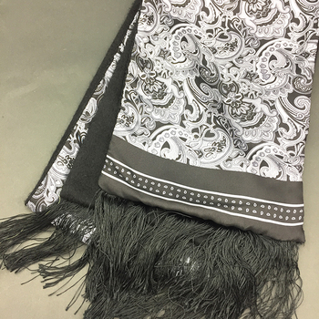 Custom Print Scarves with Merino Wool Backside Silk Scarf Wholesale China