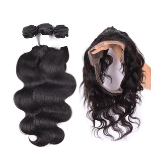 Brazilian Remy Hair Weave Free Sample Virgin Brazilian Hair Bundles With 360 Lace Frontal Closure