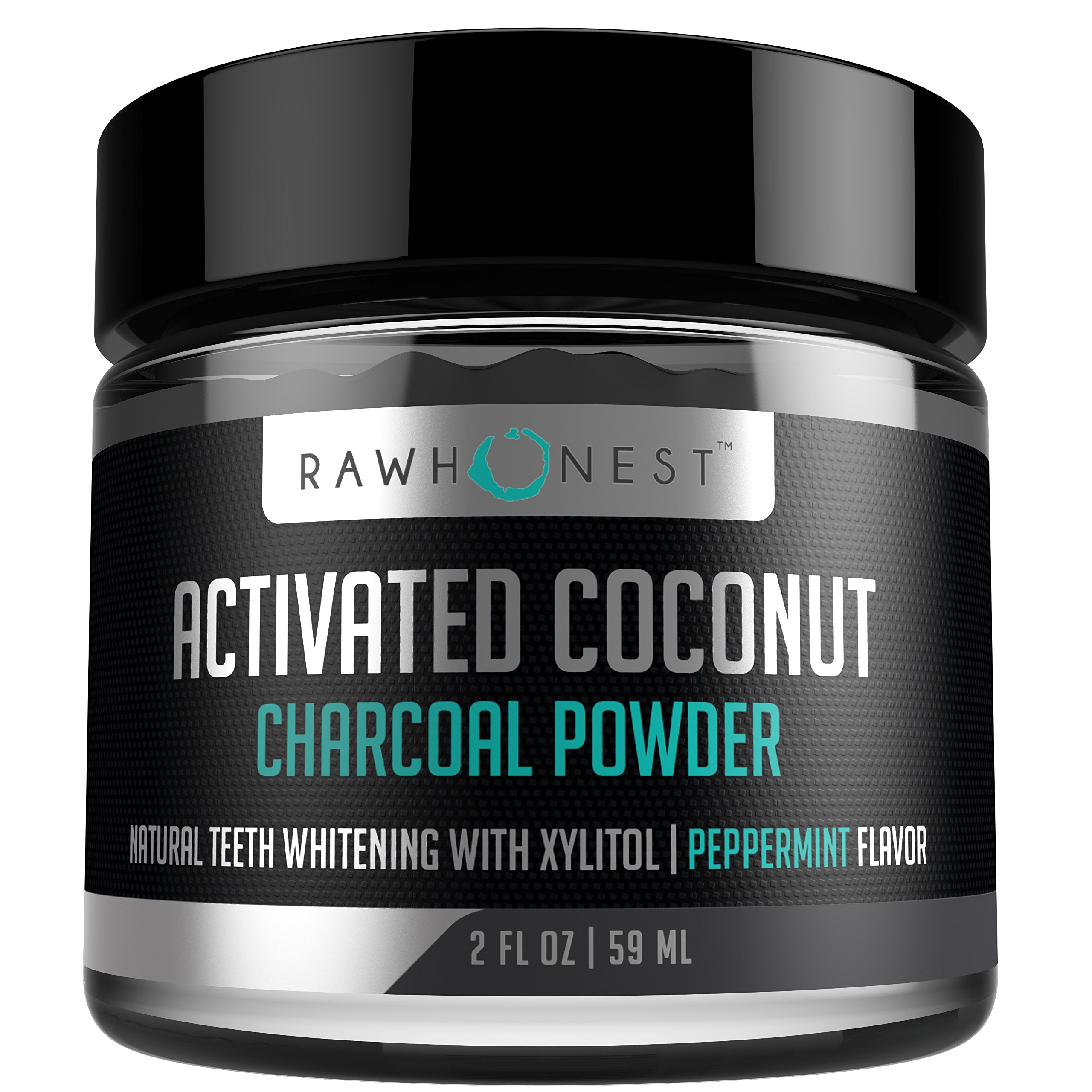 Teeth Whitening - Activated Charcoal Powder With Coconut And Xylitol - 100% Natural & Effective, Removes Stains & Promotes Oral Hygiene, Made in USA, Peppermint
