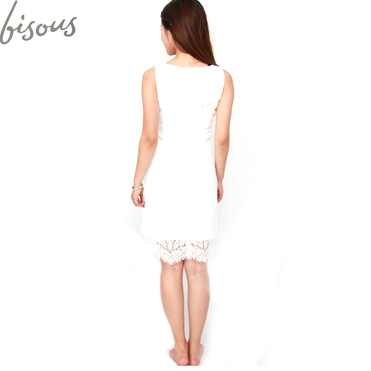 Women's Sleeveless Lace Floral Elegant Cocktail Dress boated Neck Knee Length For party dress