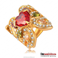 LZESHINE Ruby Heart Zircon Butterfly Shaped Saudi Arabia 18K Gold Plated Female Finger Ring Ri-HQ0302