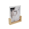 Wholesales high quality clear acrylic fridge magnet booth photo frame With paulownia base