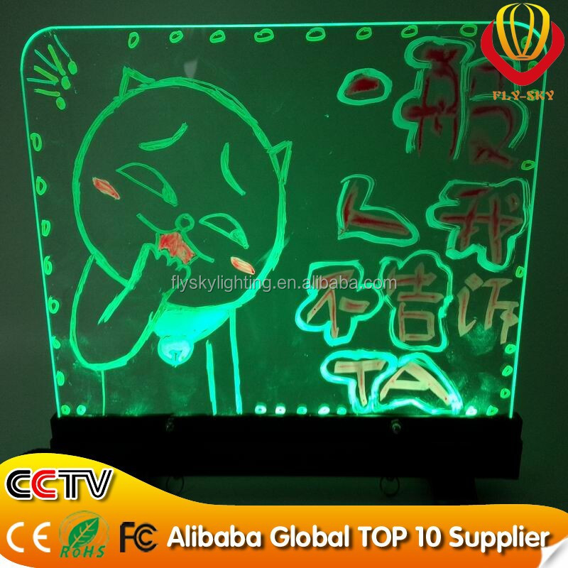 Hot New product for 2015 kids erasable LED writing boards/desktop led writing board marker pen