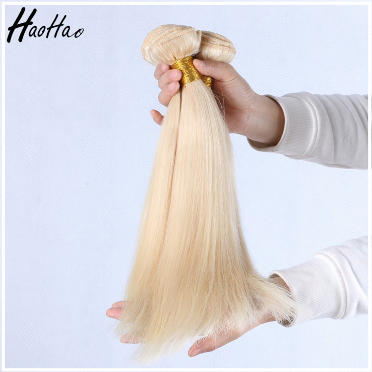 Hot Selling Blonde Virgin Hair Weave Extensions, Silky Straight Wave Yellow Hair Weave