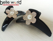 black plastic with flower rhinestones hair claw clip for women