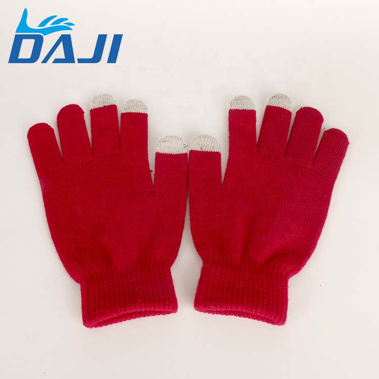 Red Cotton Touch Screen At Three Fingers Gloves For Warm