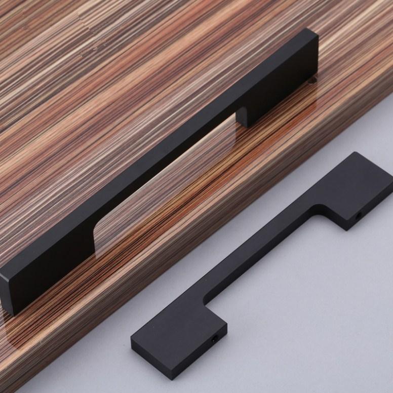 96mm óxido de aluminio mudo negro muebles puerta del armario manija ...