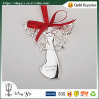 Wholesales Custom made Angel with Crystals Metal Craft Hanging Ornament for decoration