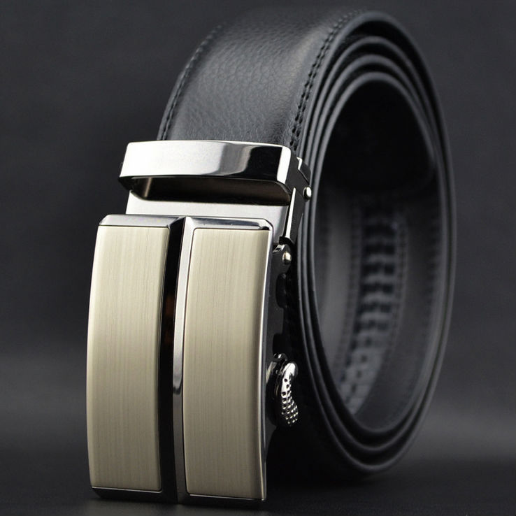 Gentlemen Casual Cowhide Leather Automatic Buckle Belt