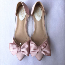 bow tie elegant dress shoes slip on flats sexy transparent pvc patchwork ladies wedding flat shoes