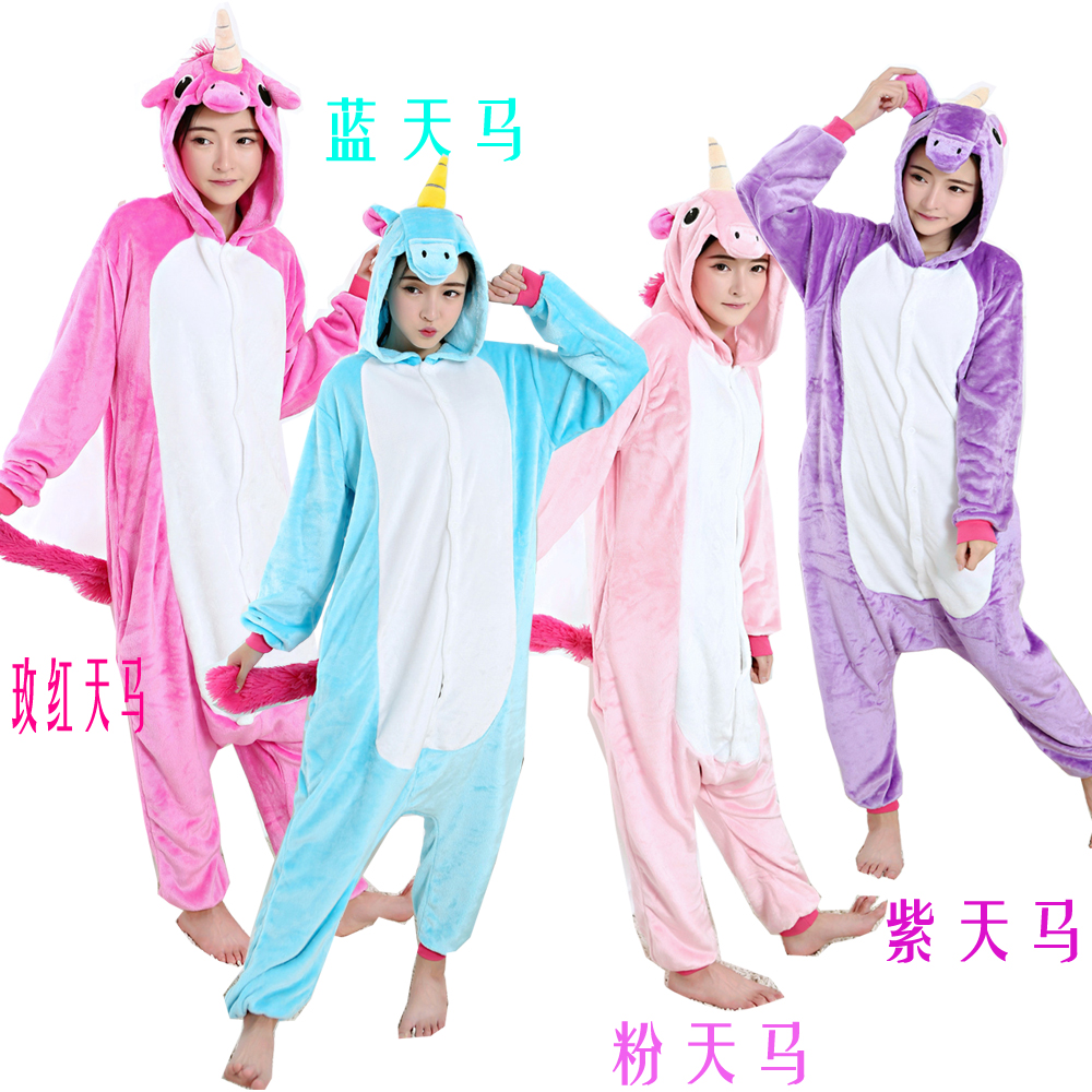 cosplay animal Blue Pegasus onesie hot sale cartoon costume unisex unicorn pajamas sleepwear jumpsuit flannel kigurumi