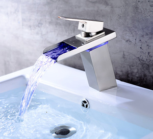Colors Waterfall Bathroom Basin Water Kitchen Faucet Double Handles 3 Holes LED Light Mixer Tap
