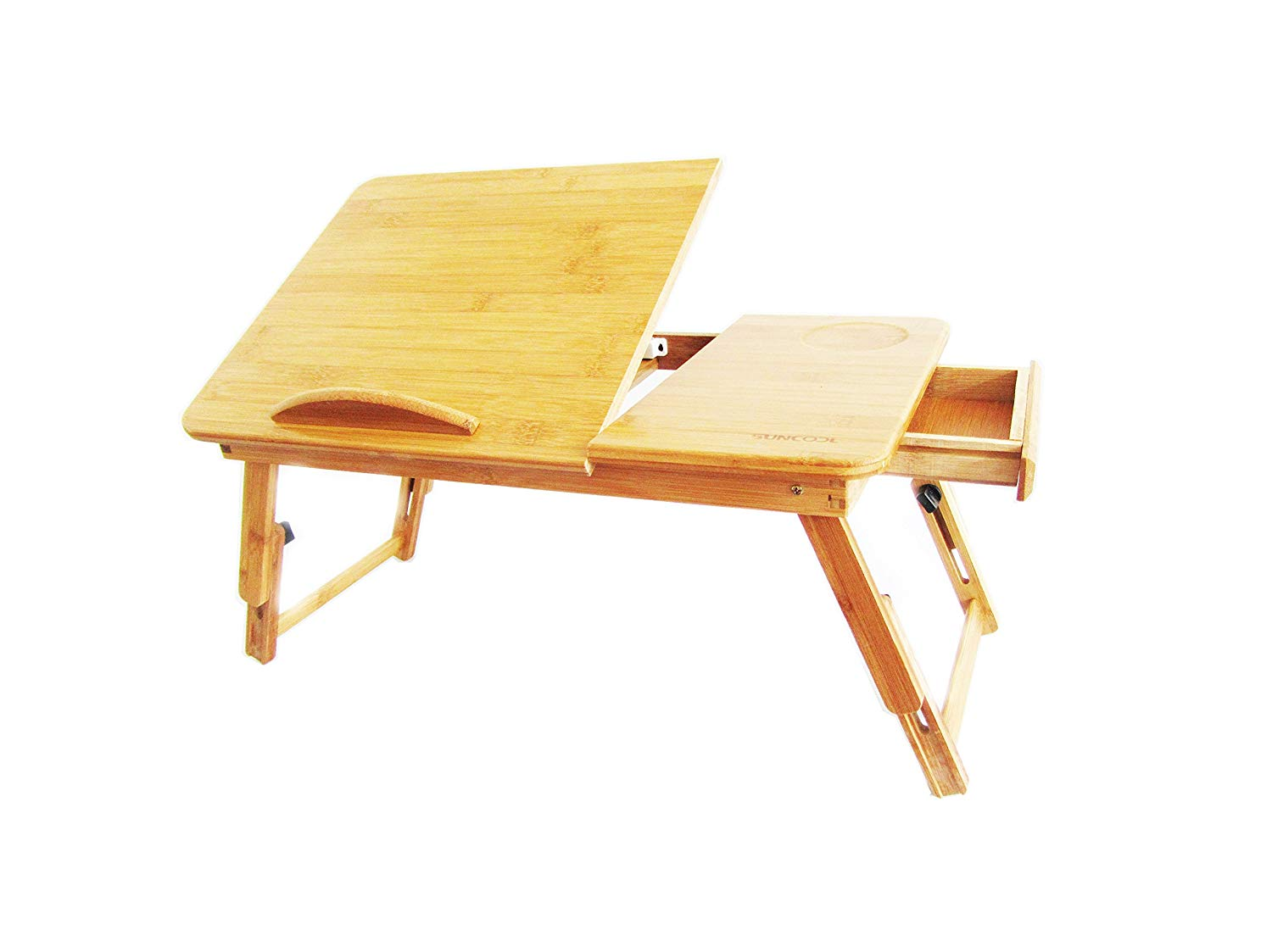 B&L Bamboo Adjustable Laptop-Desk/Bed-Tray/Lap-desk/Table with Lockable Legs, and Drawer
