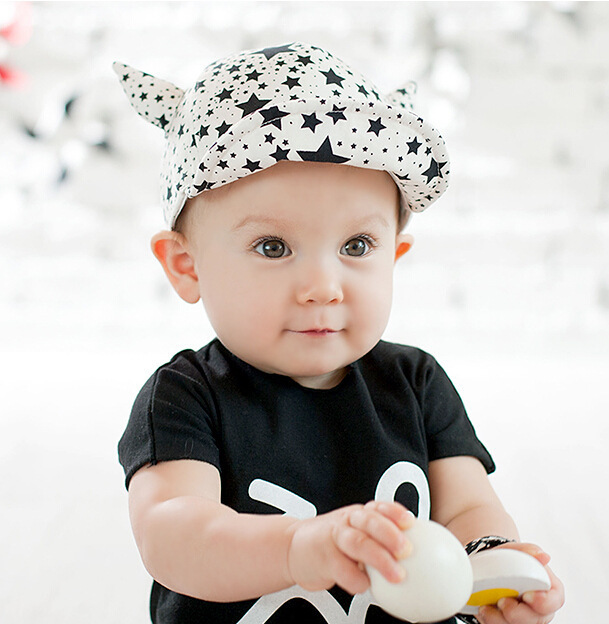 01a554d9a4d Get Quotations · Free shipping Cow Horns Stars Cotton Infant Child Boys  Girls Summer baby Children s Brimmed Sun Peaked