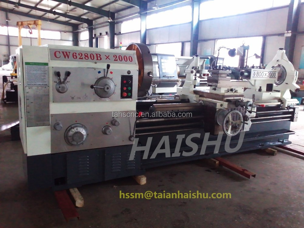china engine lathe CW6280 heavy duty machines and large diameter lathe machine with good price from taian haishu