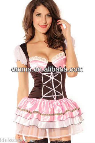 Sexy Pink Swedish Oktoberfest Beer Maid Dress Halloween Costume CC166