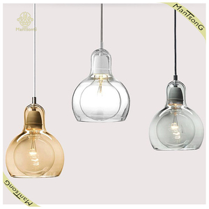 Contemporary Simple Creative Clear Amber Glass Lamp Pub and Coffee Bar Project Light Saloon and Taproom Design Pendant Lamp