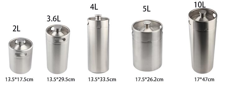 Mini Keg Growler Canteen Craft Beer Homebrewing Stainless Steel 304 Beer Barrel Keg for for Beer, Water, Soda, Wine, Coffee