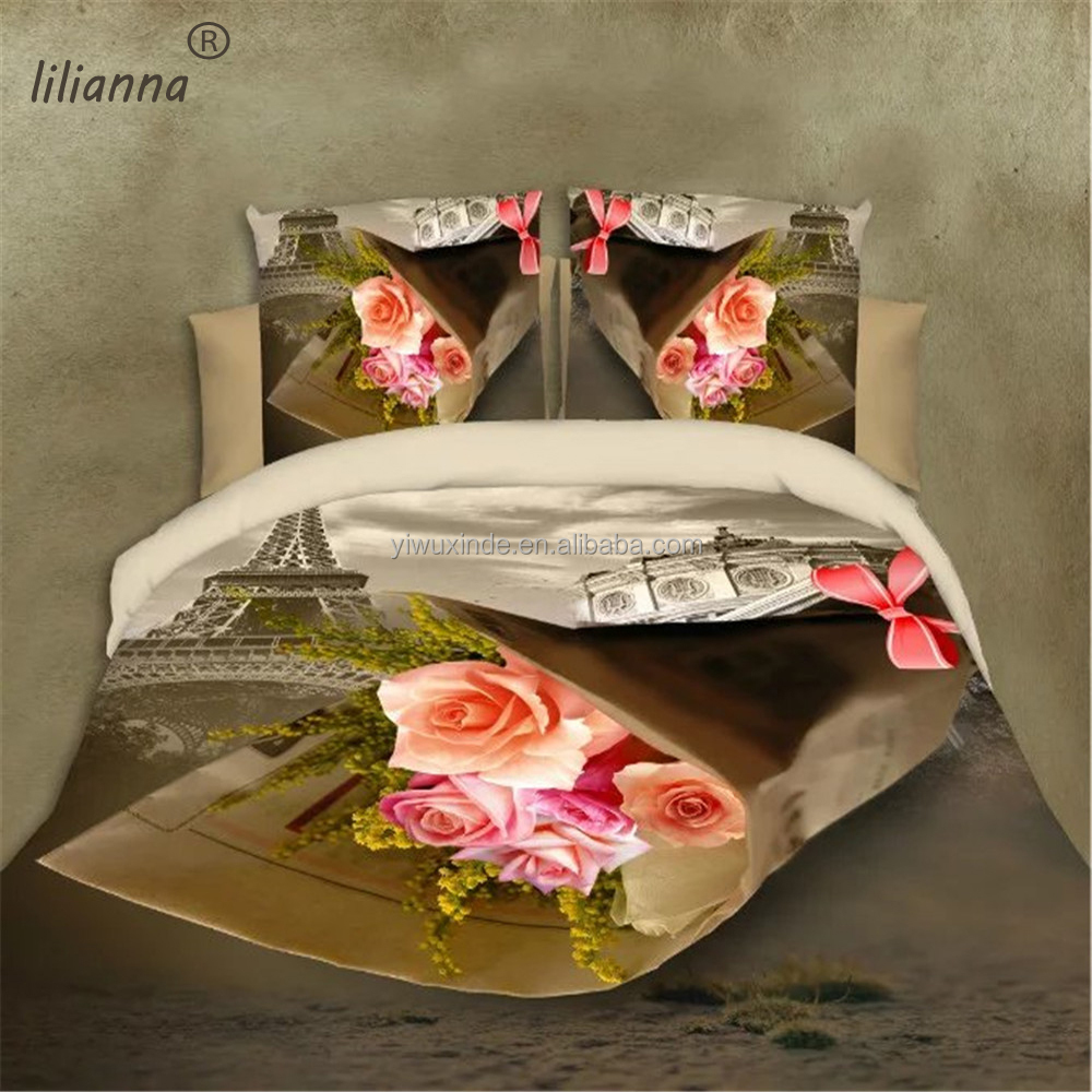Good quality Eiffel Tower and flower design 3d bedding sets made in China