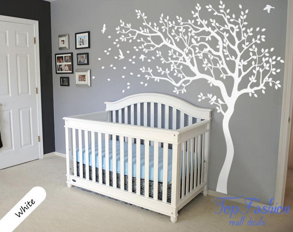 Huge White Tree Wall Decal Nursery Tree and Birds Wall Art ...