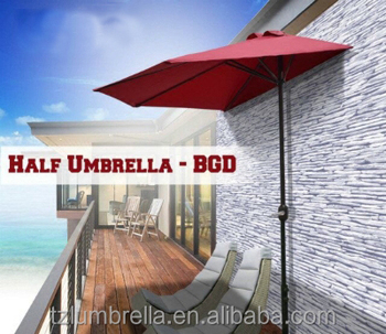 Captivating 3 Meters Outdoor Patio Half Umbrlla Nearly The Wall
