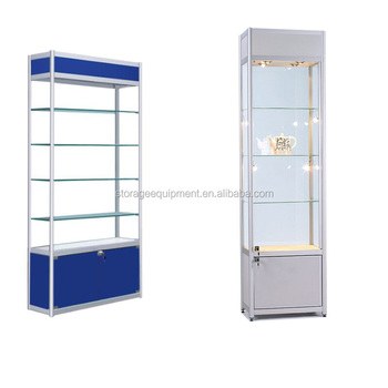 Aluminium Free Standing Glass Jewelry Showcase/ Glass Display Cabinet With  Led Light