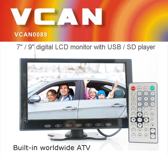 Vcan0954 7 Inch Tft Lcd Car Tv Monitor With Usb Sd Slot Mp5 Movie Player Multimedia For Or Home Speaker Fm Transmitter 2v In