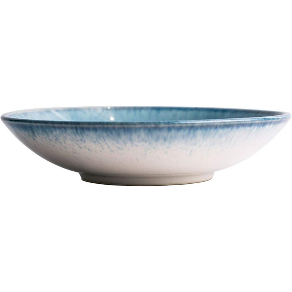 Salad plate Ceramic Noodle Bowls Pasta Bowls Soup Bowls Home Garden Kitchen Cooking Dining Tableware Dishware Serving Pieces Bowls Japanese style Rice Bowls blue