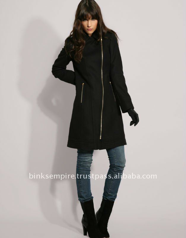 Women Black Long Coat - Buy Ladies Wool Dress Coats,Winter Wool ...