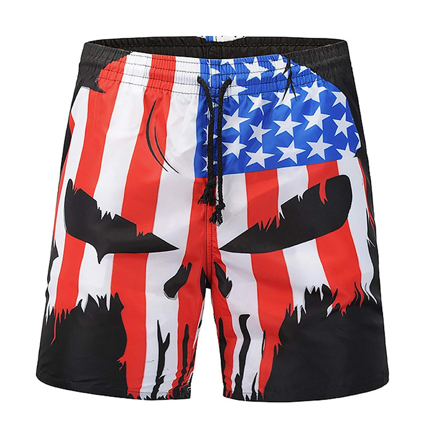 356041b521b2a Get Quotations · Mens Swim Trunks, Men's Skull Flag Print Beach Swim Trunks  Quick Dry Bathing Suits Casual