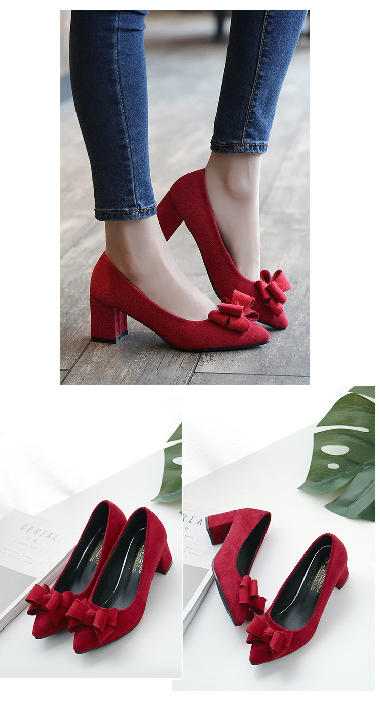 2017 new trendy bow tie thick mid heel shoe women block heels wedding bridal and sole shoes